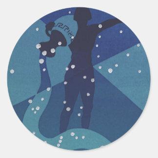 Zodiaco del vintage, constelación del acuario de etiqueta redonda