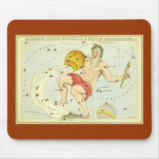 Zodiaco del vintage, constelación del acuario de alfombrilla de ratón