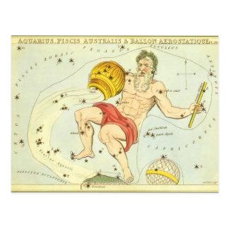 Zodiaco del vintage, constelación del acuario de postal