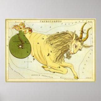 Zodiaco del vintage, constelación del Capricornio Posters