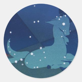 Zodiaco del vintage, constelación del Capricornio Pegatina Redonda