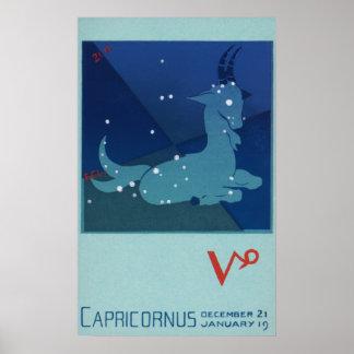 Zodiaco del vintage, constelación del Capricornio Póster