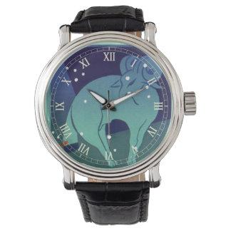 Zodiaco del vintage, constelación del espolón del reloj de mano