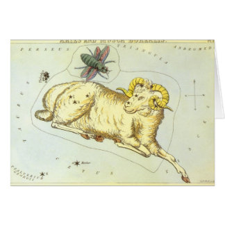 Zodiaco del vintage, constelación del espolón del tarjeta de felicitación