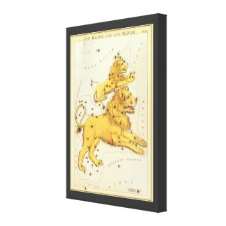 Zodiaco del vintage, constelación del león de Leo Lienzo Envuelto Para Galerías