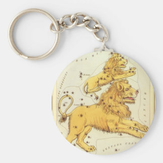 Zodiaco del vintage, constelación del león de Leo Llavero Redondo Tipo Pin