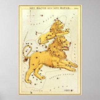 Zodiaco del vintage, constelación del león de Leo Poster