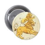 Zodiaco del vintage, constelación del león de Leo Pin Redondo De 2 Pulgadas