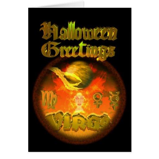 Zodiaco del virgo de los saludos de Halloween por  Tarjeta De Felicitación