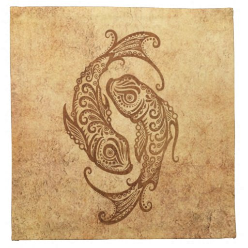 Zodiaco envejecido vintage de Piscis Servilletas Imprimidas