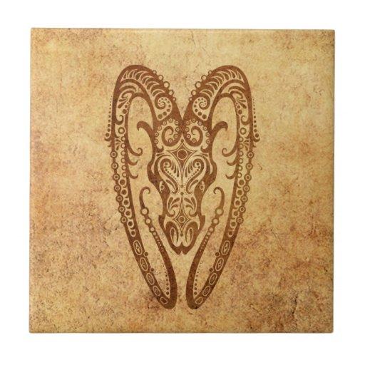 Zodiaco envejecido vintage del aries tejas  ceramicas