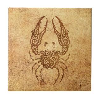 Zodiaco envejecido vintage del cáncer azulejo cuadrado pequeño