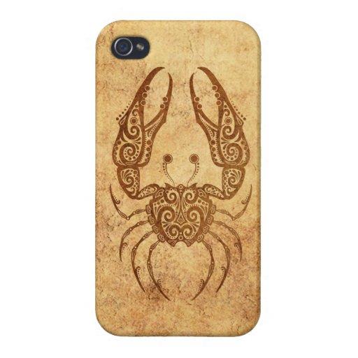 Zodiaco envejecido vintage del cáncer iPhone 4 funda