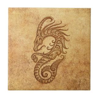 Zodiaco envejecido vintage del Capricornio Azulejo Cuadrado Pequeño