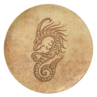 Zodiaco envejecido vintage del Capricornio Plato De Comida
