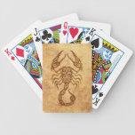 Zodiaco envejecido vintage del escorpión baraja cartas de poker