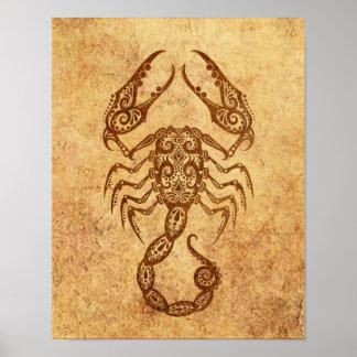 Zodiaco envejecido vintage del escorpión póster