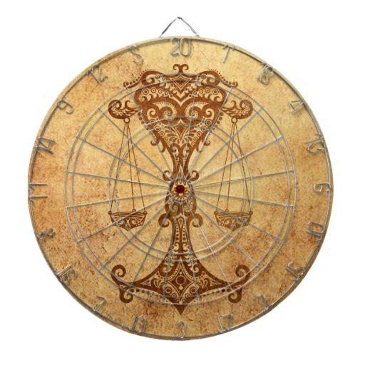 Zodiaco envejecido vintage del libra tabla dardos