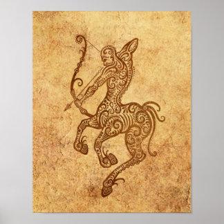 Zodiaco envejecido vintage del sagitario póster