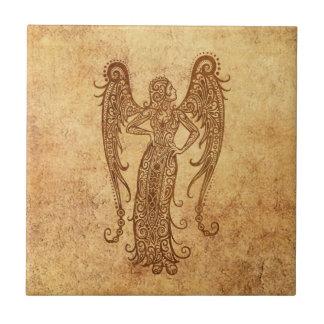 Zodiaco envejecido vintage del virgo azulejo cuadrado pequeño