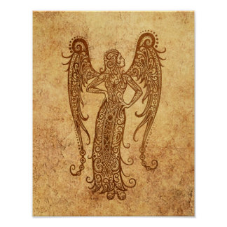 Zodiaco envejecido vintage del virgo póster