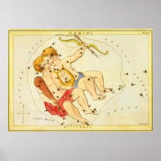 Zodiaco gemelo de la constelación de los géminis d impresiones