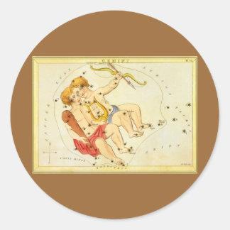 Zodiaco gemelo de la constelación de los géminis d etiqueta redonda