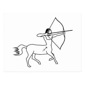 zodiaco griego de la astrología del sagitario del tarjeta postal