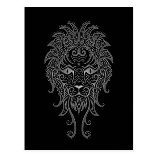 Zodiaco gris complejo de Leo en negro Postales