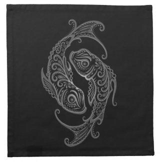 Zodiaco gris complejo de Piscis en negro Servilletas Imprimidas
