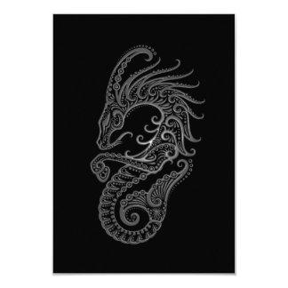 """Zodiaco gris complejo del Capricornio en negro Invitación 3.5"""" X 5"""""""
