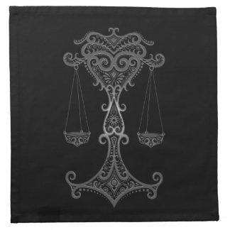 Zodiaco gris complejo del libra en negro servilletas de papel