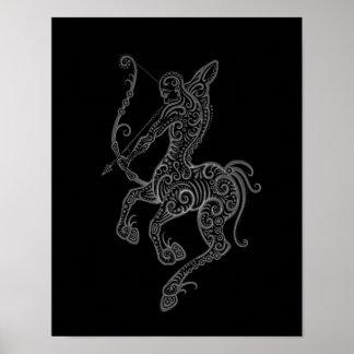 Zodiaco gris complejo del sagitario en negro posters