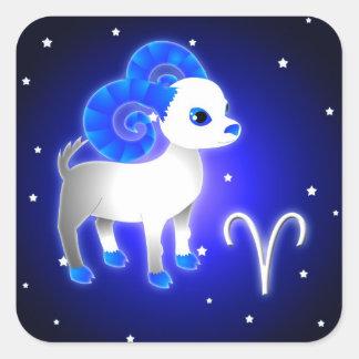 Zodiaco lindo del aries pegatina cuadradas