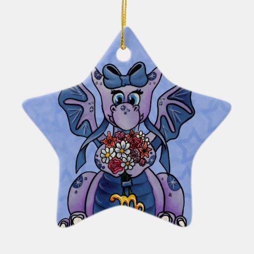 Zodiaco lindo del dragón del bebé del ornamento de adorno de cerámica en forma de estrella