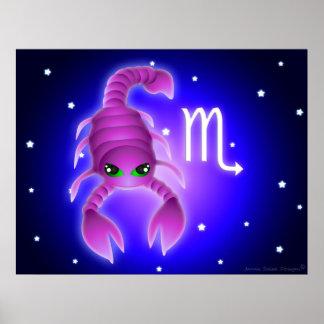 Zodiaco lindo del escorpión póster