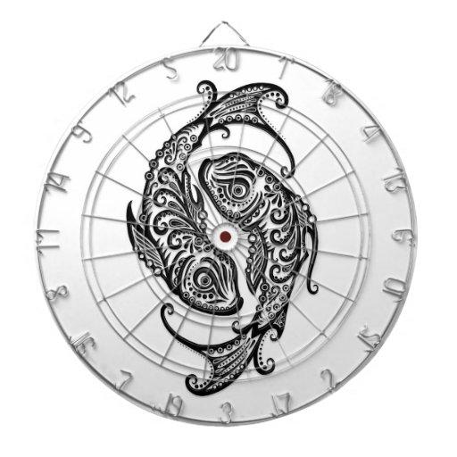 Zodiaco negro complejo de Piscis en blanco Tablero Dardos
