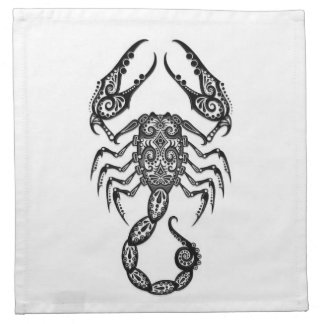 Zodiaco negro complejo del escorpión en blanco servilletas imprimidas