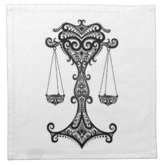 Zodiaco negro complejo del libra en blanco servilletas imprimidas