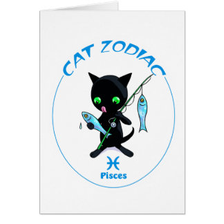 Zodiaco Piscis del gato Tarjeta Pequeña