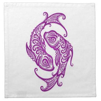 Zodiaco púrpura complejo de Piscis en blanco Servilletas Imprimidas