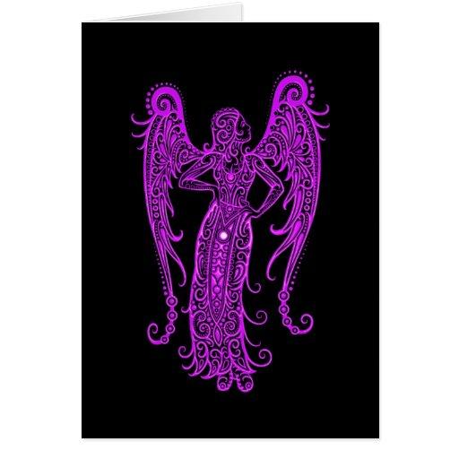 Zodiaco púrpura complejo del virgo en negro tarjeta de felicitación