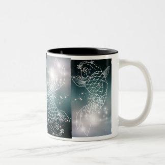 zodiaco que brilla intensamente azul romántico mod taza de café