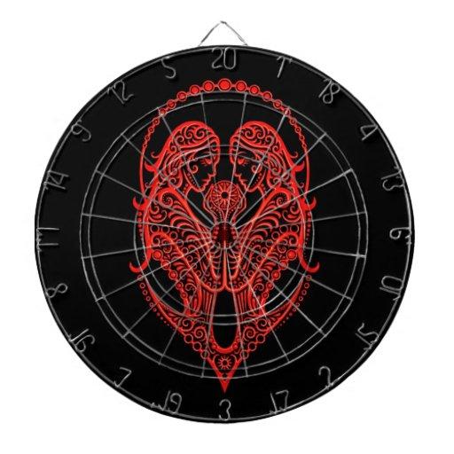 Zodiaco rojo complejo de los géminis en negro