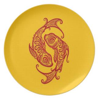 Zodiaco rojo complejo de Piscis en amarillo Plato De Comida