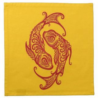 Zodiaco rojo complejo de Piscis en amarillo Servilleta Imprimida