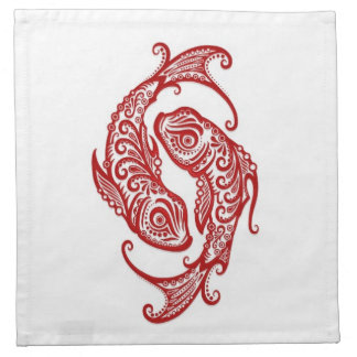 Zodiaco rojo complejo de Piscis en blanco Servilleta De Papel