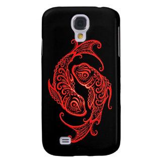 Zodiaco rojo complejo de Piscis en negro Funda Para Galaxy S4