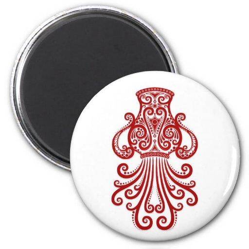 Zodiaco rojo complejo del acuario en blanco imán redondo 5 cm