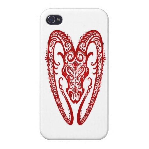 Zodiaco rojo complejo del aries en blanco iPhone 4 cárcasas